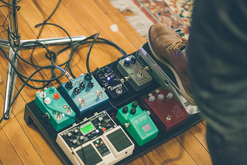 Guitar pedal board with multiple pedals